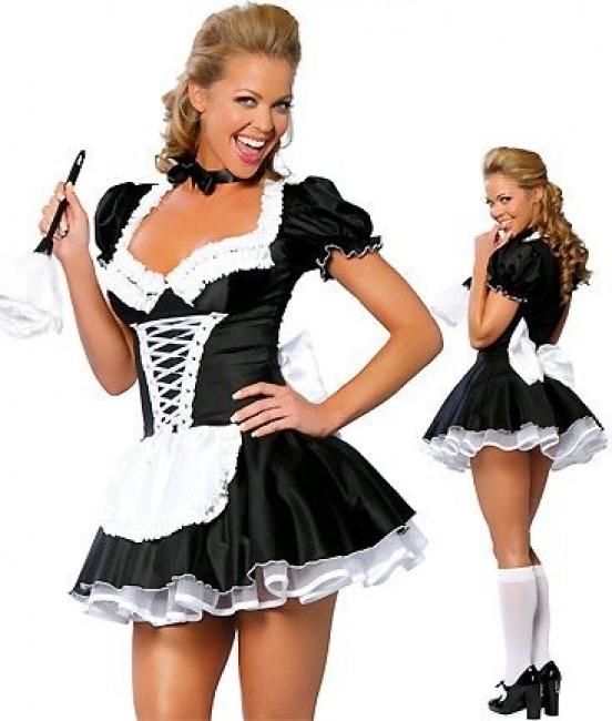 Костюмы карнавальные Кокетливый шелковый наряд гувернантки черного цвета с